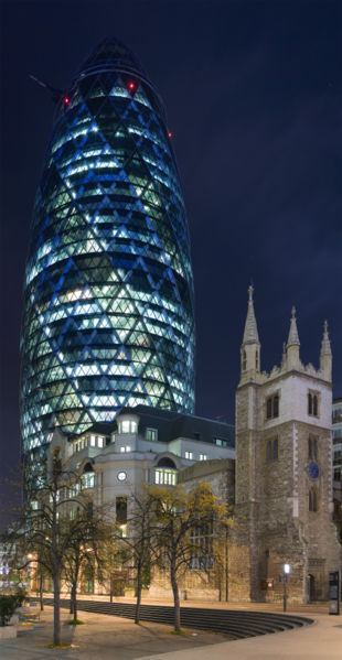 30 St Mary Axe, designed by Lord Norman Foster