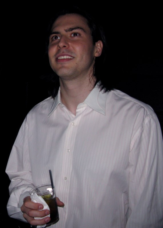 Andrew W.K. watching The Voluptuous Horror of Karen Black perform at his club, Santo\'s Playhouse
