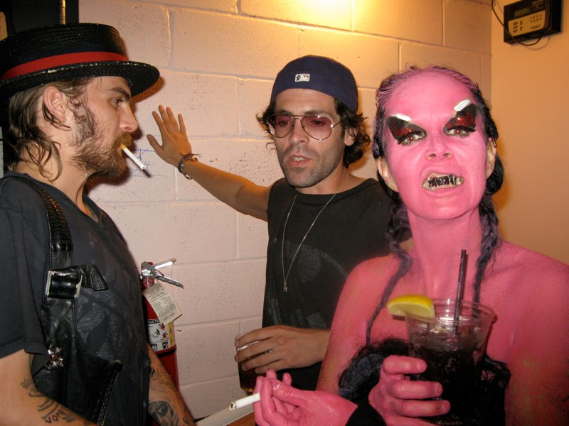 Dash Snow, Brian McPeck (of A.R.E. Weapons) and Kembra Pfahler at Santo\'s Playhouse