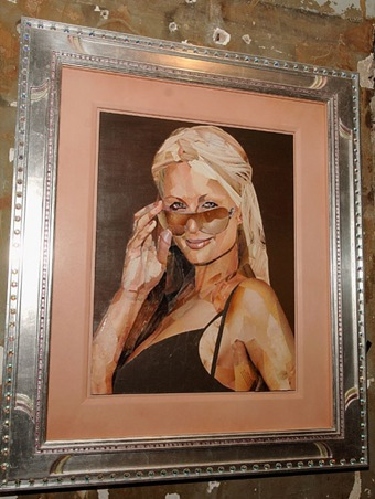 Paris Hilton Portrait made of Porn, by Jonathan Yeo
