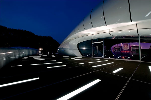 A View of Chanel Mobile Art Pavilion, at Central Park\'s Rumsey Playfield, designed by Zaha Hadid