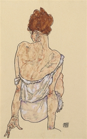 "Egon Schiele's ""Sitzende in Unterwäsche, Rückenansicht"" gouache, watercolor and crayon, sold for $1,594,500 and was estimated at $700,000 to 1,000,000."