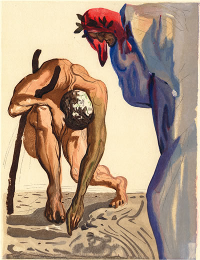 Sordello drawing a line in Purgatory- Salvador Dali