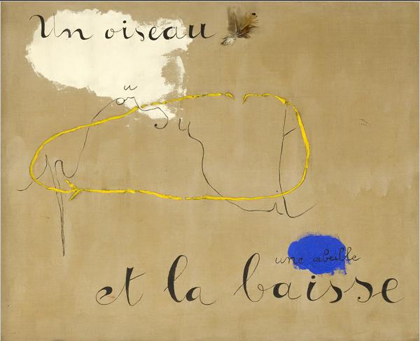 Joan Miro Un Oiseau Poursuit Une Abeille Et La Baisse