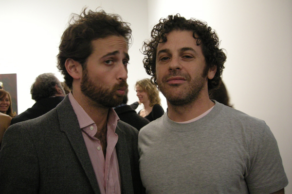 Sam Orlofsky and Tom Sachs at Richard Prince's Canal Zone exhibition.