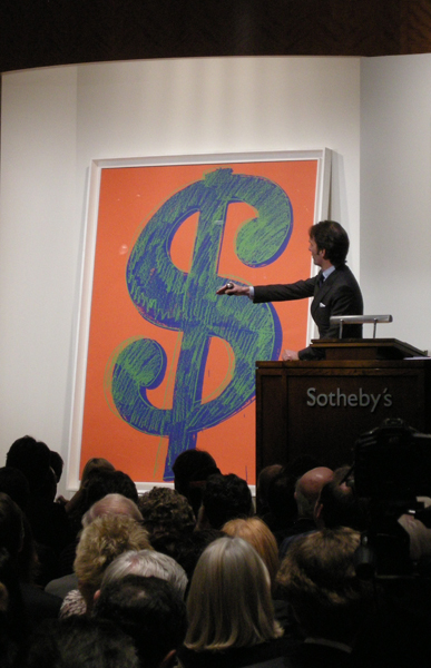 Sotheby's November 11th, 2008 and Andy Warhol's Dollar Sign for bid.