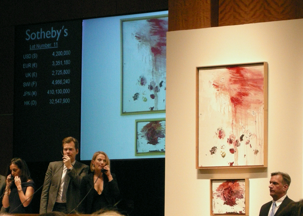 Sotheby's November 11th, 2008 Auction and Cy Twombly painting for bid.