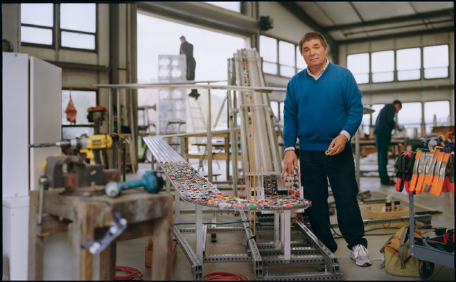 Chris Burden at his studio in Topaga, CA image via wirednewyork.com