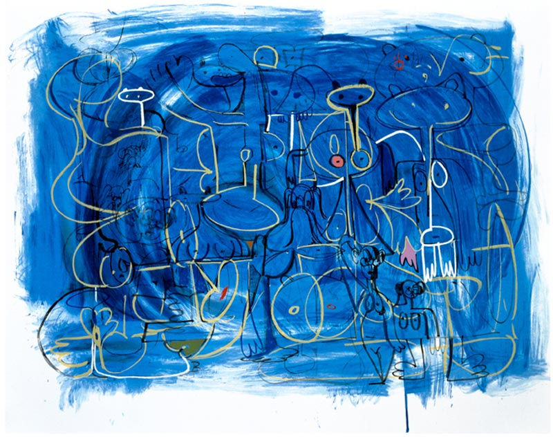 """Abstract Composition in Blue"" 1998, Silkscreen via www.castkillartsociety.org"