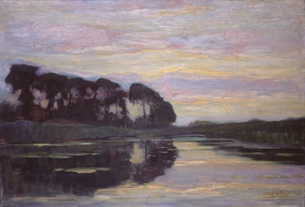 Piet Mondrian Piet Mondrian:Ferme sur le Gein, dissimulée par de grands arbres, au coucher de soleil