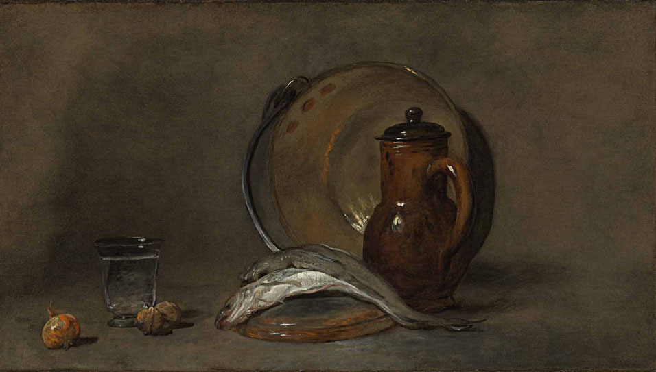 Jean Simeon Chardin-Still-Life with a copper pot, a pitcher, fish, a glass, two nuts, and an onion