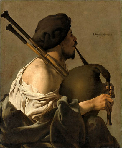 Bagpipe Player in Profile-1624-by Hendrick ter Brugghen