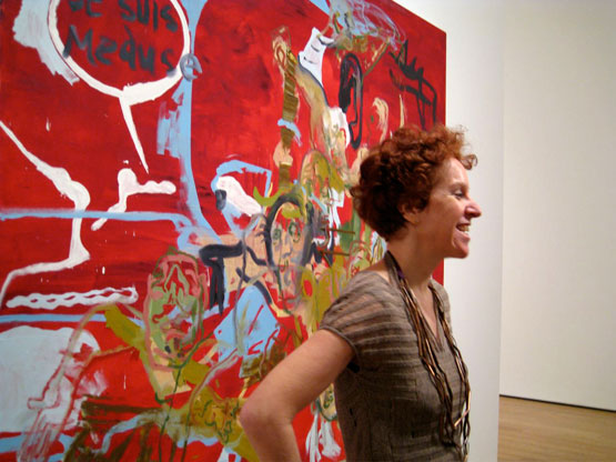 MoMA - Martin Kippenberger - Co-Curator Ann Temkin next to Untitled from the series Raft of Medusa (1991).
