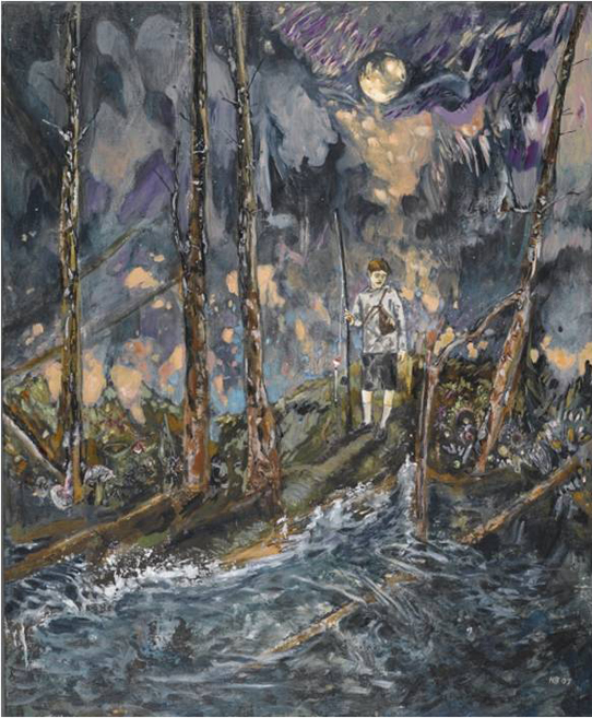 Hernan Bas - Night Fishing, 2007.  Purchased by the Brooklyn Museum.