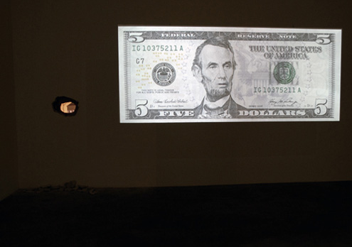 Tony Oursler, Federal Reserve Note Five Dollars, 2009, Metro Pictures New York. Via Metro Pictures