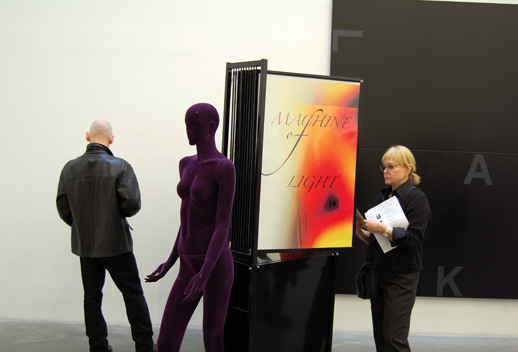 DAS INSTITUTE, Untitled, 2008, poster rack with title posters and mannquin, Via NYABlog