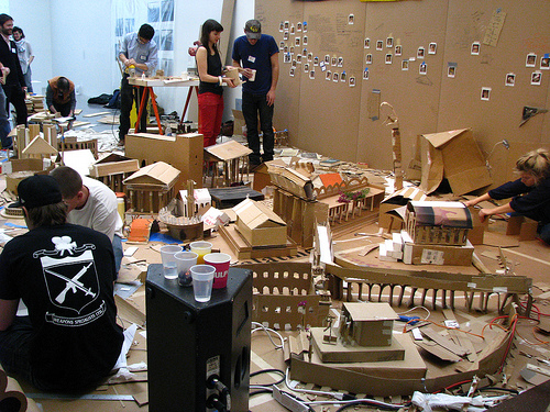 Liz Glynn, the 24-hour Roman Reconstruction Project or Building Rome In a Day, 2008-09, 24 hour performance and installation with mixed mediums, Via C-Monster