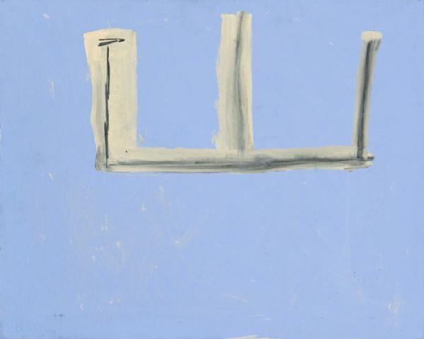 Robert Motherwell, Open No. 130: Charcoal on light Blue