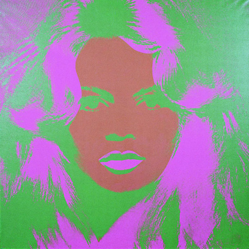 "Andy Warhol, Brigitte Bardot (detail), 1974, diptych, acrylic and silkscreen on linen, each 47 3⁄4 x 47 3⁄4"". © 2009 The Andy Warhol Foundation for the Visual Arts."