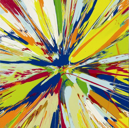 Damien Hirst - Beautiful Lazarides Inc. Auction Spinny Thingy Where Will It All End, Money For Old Rope, Buy This You Bugger, Its Got Kline Blue Bloody Splashes In It For Fuck's Sake, Love You Really Painting (with xxxxx)