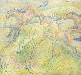 Franz Marc - Springende Pferde