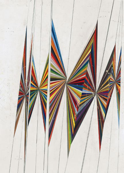 Mark Grotjahn - Untitled (large colored butterfly white background 10 wings)