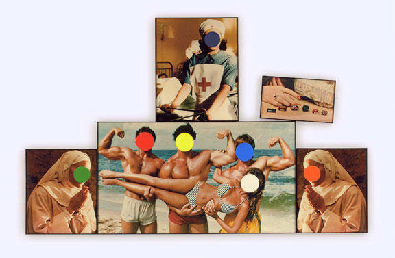 John Baldessari, Beach Scene/Nuns/Nurse (with Choices) via ArtCritical