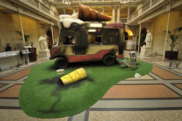 Bansky-wrecked ice cream van-Bristol Museum