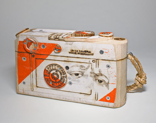 Untitled (CE Wood Leica) back, Tom Sachs Cameras, The Aldrich Contemporary Art Museum
