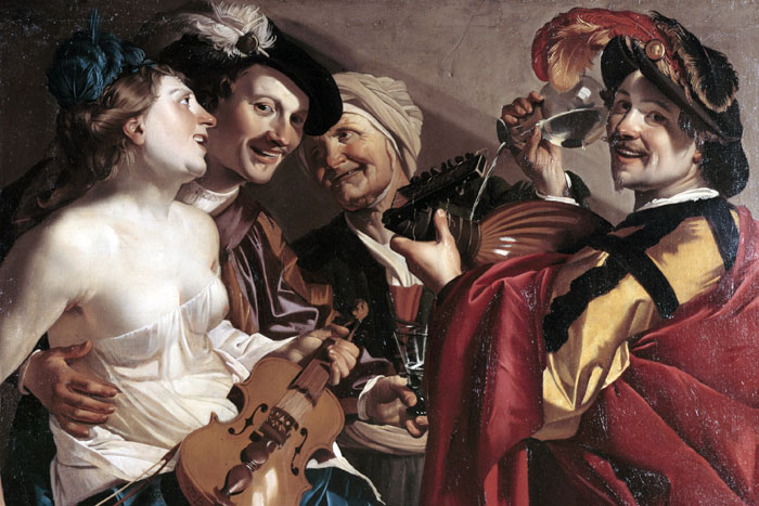 Loose Company, Dirck van Baburen, The Städel Museum, Caravaggio in Holland