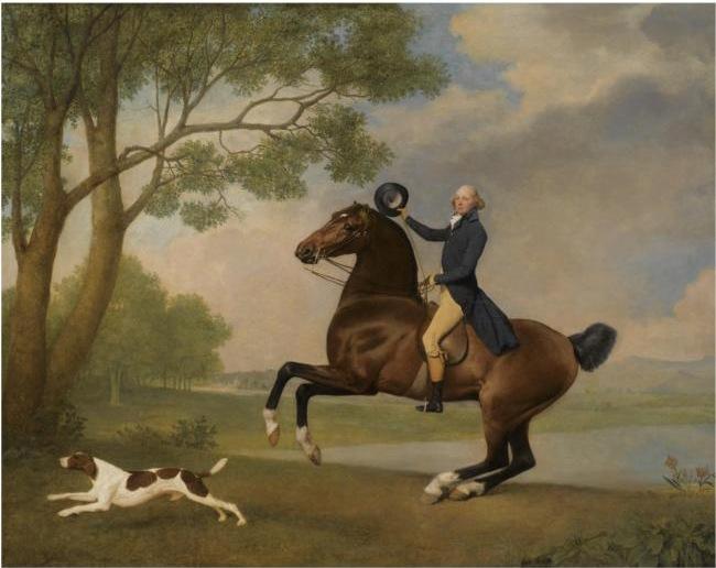 George Stubbs - Portrait of Baron de Robeck Riding a bay hunter