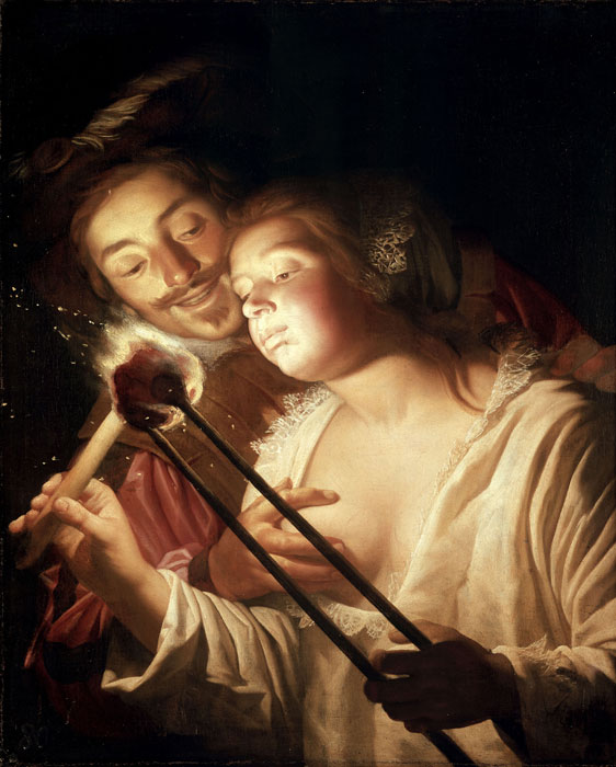 Gerard van Honthorst, Girl Blowing on Coal, Embraced by Her Lover, Carvaggio in Holland, The Städel Museum