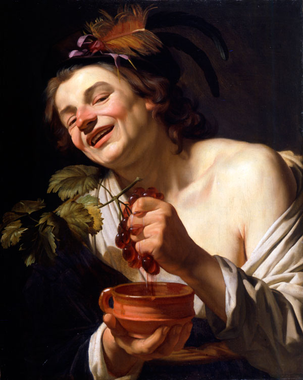Gerard van Honthorst, Young Man Crushing Grapes into an earthen pot, Caravaggio in Holland, The Städel Museum