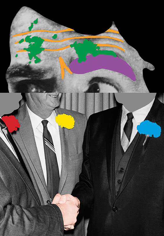 John Baldessari Raised Eyebrows Furrowed Foreheads Three Persons with Boutonnieres and Handshake Mai 36