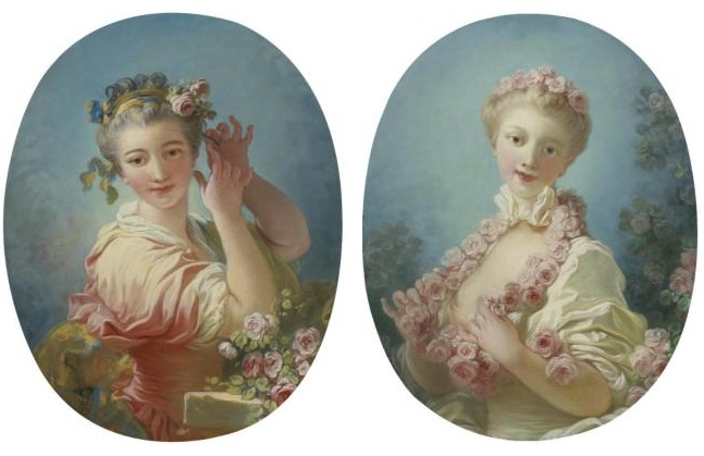 Jean-Honore Fragonard - A Young Blonde Woman with a Garland of Roses around Her Neck;A Young Woman Adorning Her Powdered Coiffure with a Spray of Roses