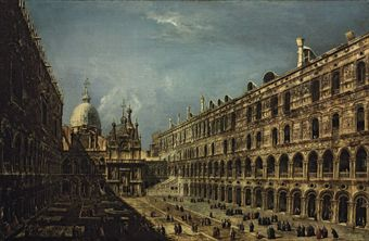 Michele Giovanni Marieschi -  The Courtyard of the Doge's Palace, Venice, with the Scala dei Giganti, Saint Mark's Basilica beyond