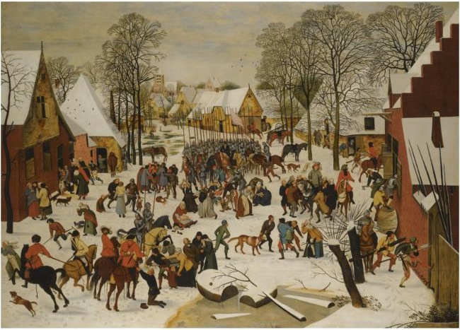 Pieter Brueghel the Younger - a flemish village in winter with the massacre of the innocents
