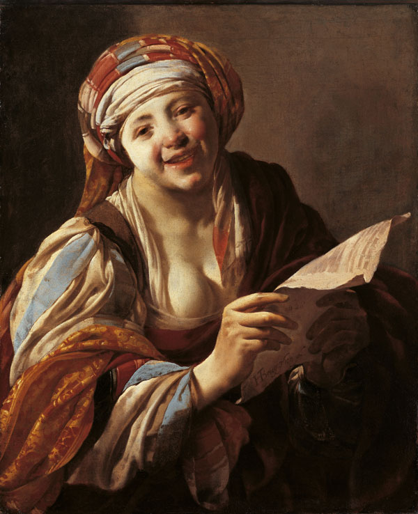 Hendrick Terbrugghen,Young Woman Reading from a Sheet of Paper, Caravaggio in Holland, The Städel Museum