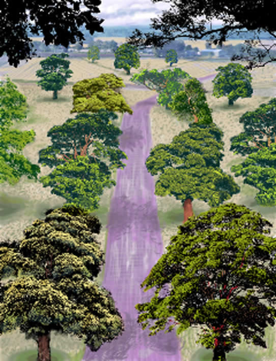 David Hockney, Summer Road near Kilham, Drawing in a Printing Machine, Annely Juda
