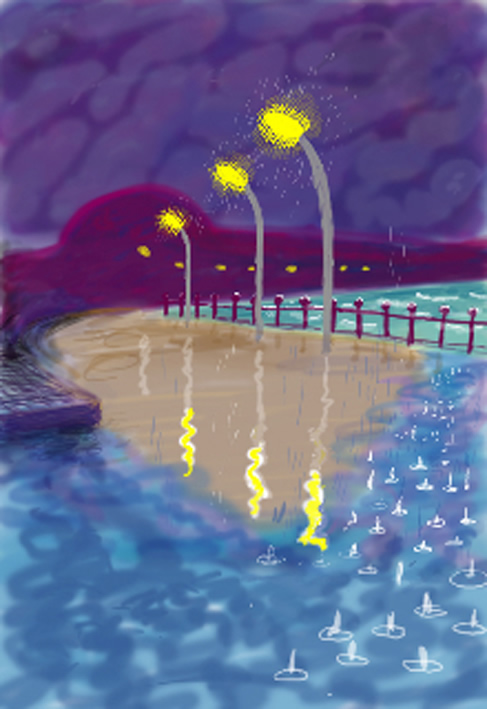 David Hockney, Rainy NIght on Bridlington Promenade, Drawing in a Printing Machine, Annely Juda