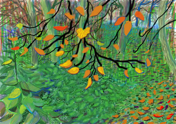 David Hockney, Autumn Leaves, Drawing in a Printing Machine, Annely Juda