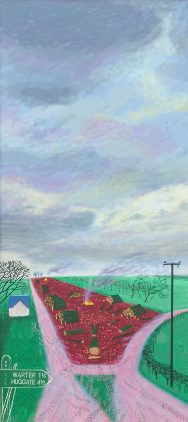 David Hockney, Less Trees near Warter, Drawing in a Printing Machine, Annely Juda
