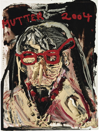 jonathan meese mutter mit roter Brille und roetlicher Perlenkette, haunch of venison the figure and dr freud