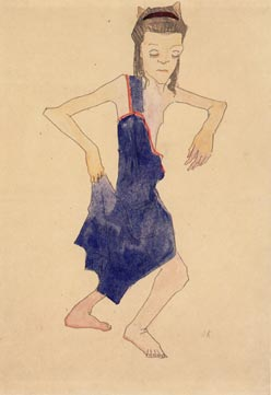 dancing young girl in teh dress, the right hand on the hem, oskar kokoschka, neue galerie new york focus