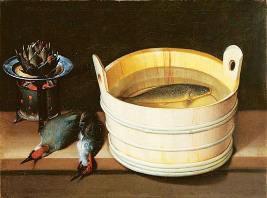 sebastian stoskopff, 'zuber mit karpfen, glutherd mit artischocke and grunspechte,' 1928. Via DesignBoom.