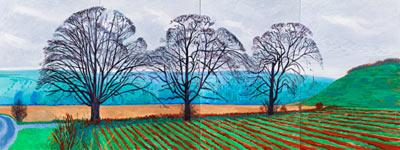 Drei Baume in der Nahe zu Thixendale-David Hockney-2007