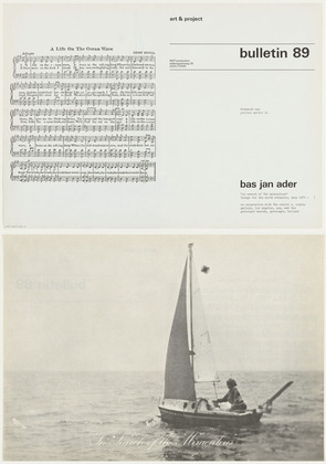Bas Jan Ader - Art and Project Bulletin 89