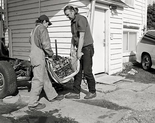 Jeff Wall - Marian Goodman - Men Move an Engine Block