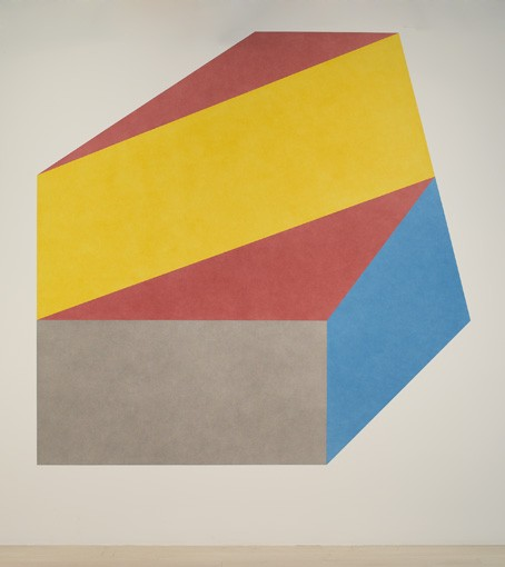 Sol LeWitt Wall Drawing #412A Isometric figure with color ink washes with a different color on each plane