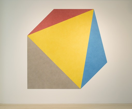 Sol LeWitt Wall Drawing 412B Isometric figure with color ink washes with a different color on each plane